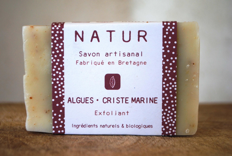 Savon exfoliant aux algues et criste marine saponification à froid saf savonnerie artisanale Bretagne Finistère
