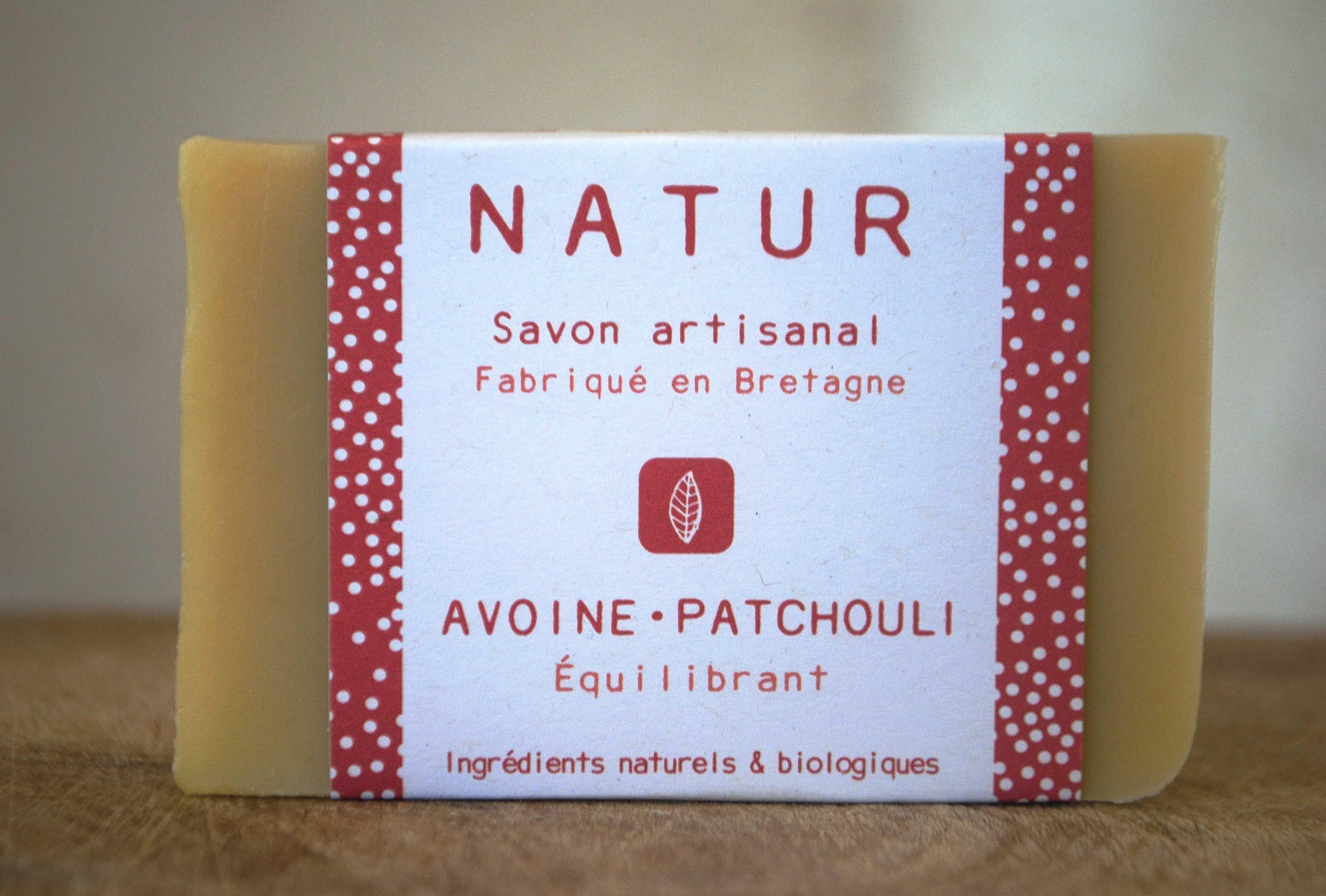 Savon patchouli & lait d'avoine - Equilibrant saponification à froid saf savonnerie artisanale Bretagne Finistère